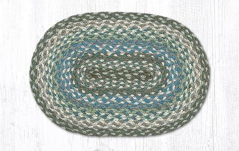 "Capitol Earth Rugs Table Accent/Miniature Swatch, 10"" x 15"" Oval, Color: Sage/Ivory/Settler's Blue"