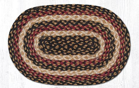 "Capitol Earth Rugs Table Accent/Miniature Swatch, 10"" x 15"" Oval, Color: Burgundy/Black/Dijon"