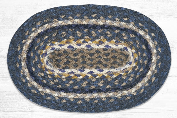 "Capitol Earth Rugs Table Accent/Miniature Swatch, 10"" x 15"" Oval, Color: Deep Blue/Goldenrod/Cream"