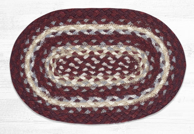 "Capitol Earth Rugs Table Accent/Miniature Swatch, 10"" x 15"" Oval, Color: Burgundy/Grey/Cream"