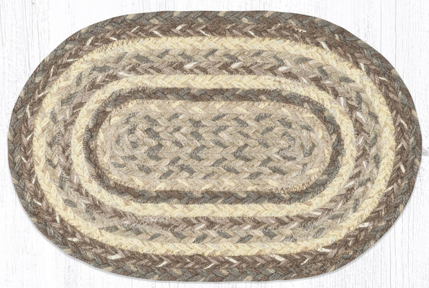 "Capitol Earth Rugs Craft Spun Jute Table Accents/Miniature Swatches, 10"" x 15"" Oval, Khaki"
