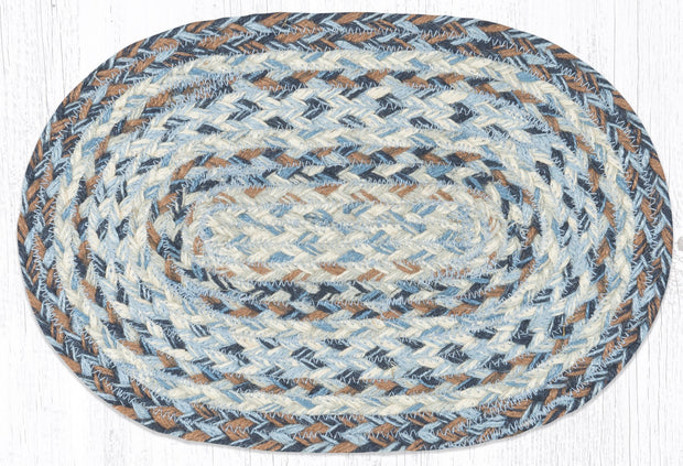 "Capitol Earth Rugs Craft Spun Jute Table Accents/Miniature Swatches, 10"" x 15"" Oval, Denim"