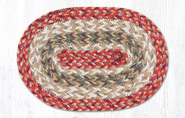 "Capitol Earth RugJute Braided Table Accent/Miniature Swatches, 7.5"" x 11"" Oval, Olive"