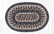 "Capitol Earth Rugs Craft Spun Jute Table Accents/Miniature Swatches, 10"" x 15"" Oval, Black & Tan"
