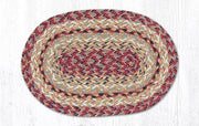 "Capitol Earth RugJute Braided Table Accent/Miniature Swatches, 7.5"" x 11"" Oval, Burgundy"