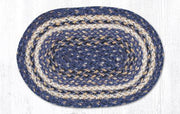 "Capitol Earth Rugs Craft Spun Jute Table Accents/Miniature Swatches, 10"" x 15"" Oval, Deep Blue"
