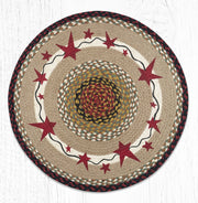 Burgundy Primitive Stars Oval Patch Rug - Oval, Oblong, & Round