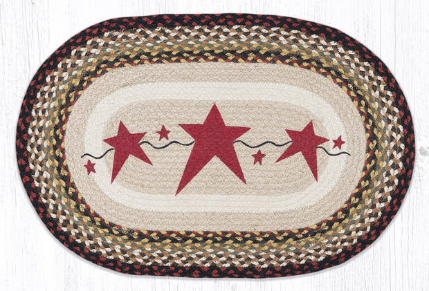 "Capitol Earth Rugs Burgundy Primitive Stars Jute Oval Patch Rug, 20"" x 30"""