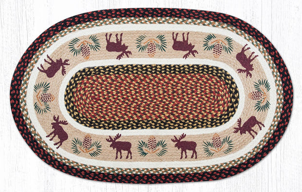 "Capitol Earth Rugs Moose & Pinecone 2 Jute Oval Patch Rug, 24"" x 75"""