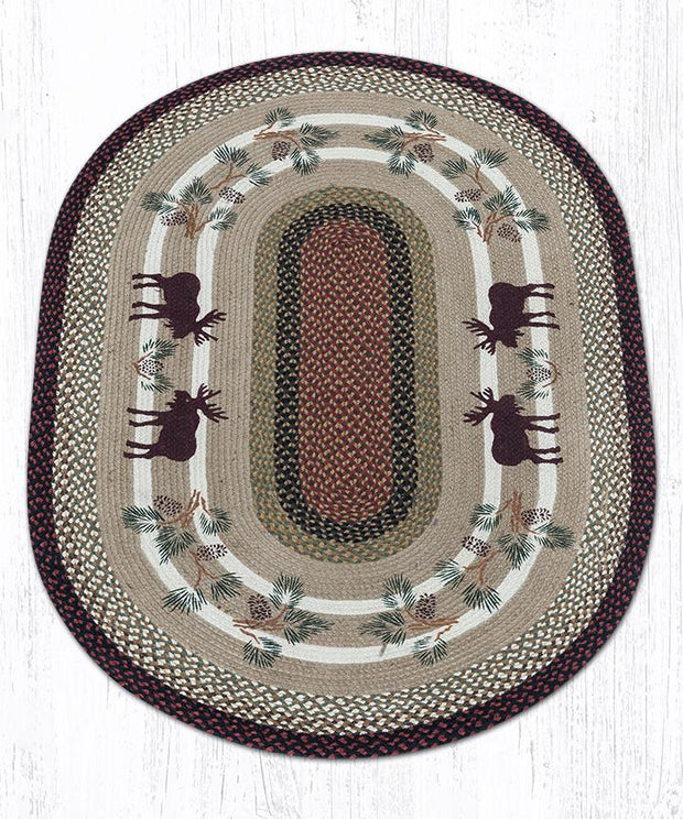 Capitol Earth Rugs Moose & Pinecone 2 Jute Oval Patch Rug, 4' x 6'