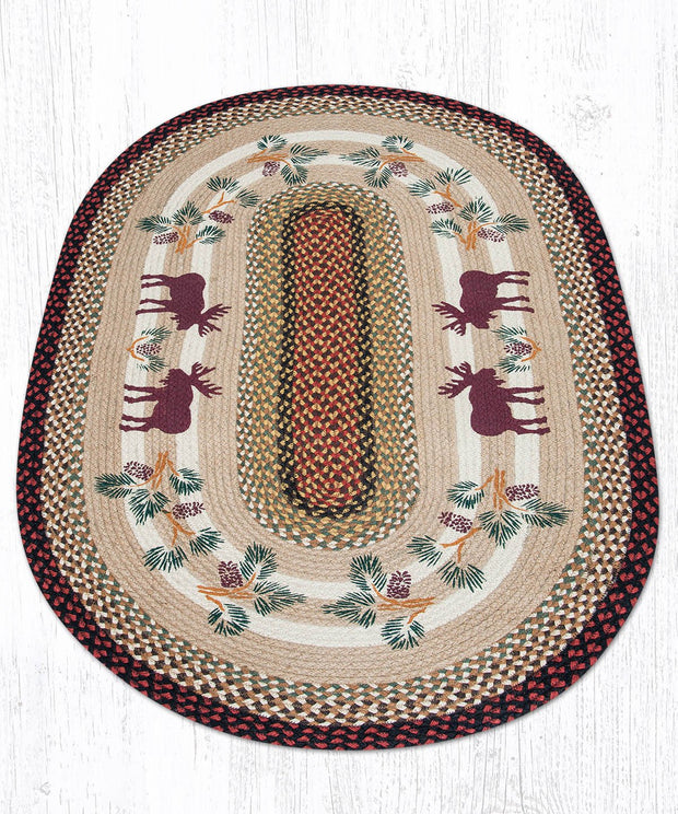 Capitol Earth Rugs Moose & Pinecone 2 Jute Oval Patch Rug, 3' x 5'