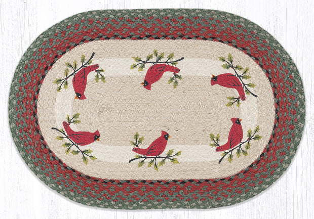 "Capitol Earth Rugs Holly Cardinal Oval Patch Rug, 20"" x 30"""