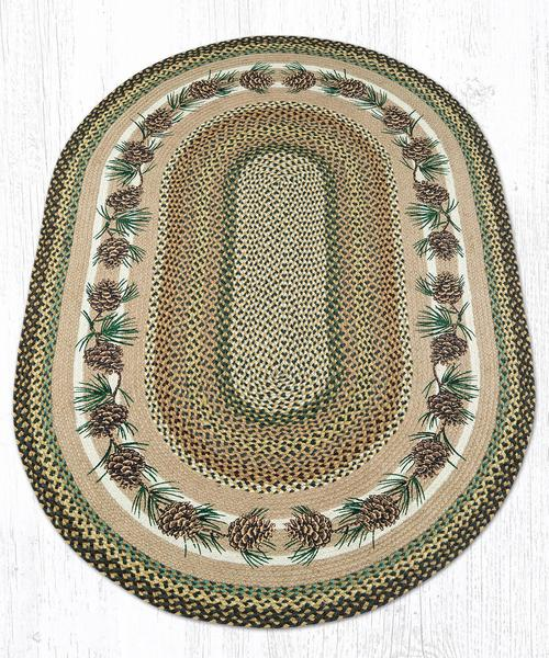 Capitol Earth Rugs Needs & Cones Print Braided Jute Rug, 4' x 6'