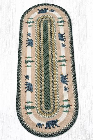 Capitol Earth Rugs Bear Timbers Oval Patch Rug, 2' x 6'