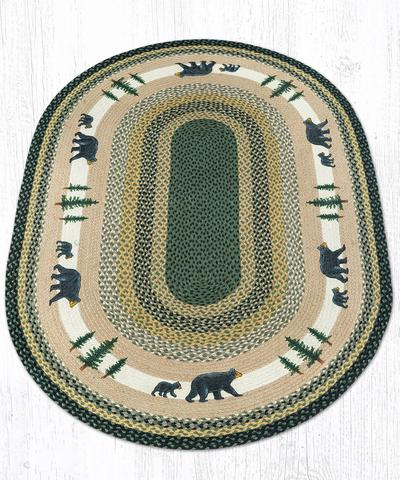 Capitol Earth Rugs Bear Timbers Oval Patch Rug, 4' x 6'