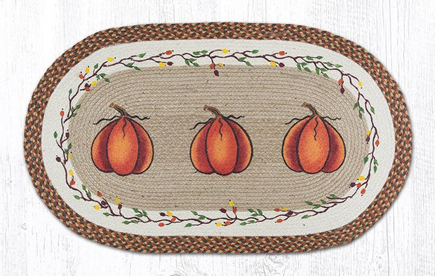 "Capitol Earth Rugs Harvest Pumpkin Patch Rug, 27"" x 45"" Oval"