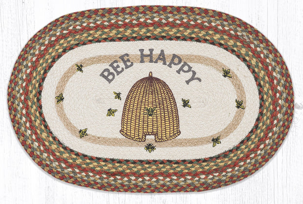 "Capitol Earth Rugs Bee Happy Oval Patch Rug, 20"" x 30"""