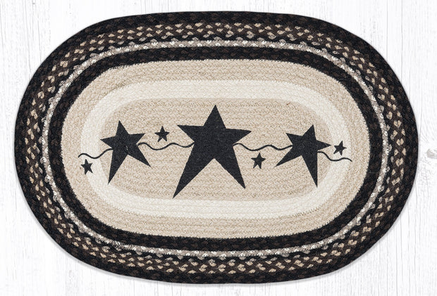 "Capitol Earth Rugs Black Primitive Stars Oval Patch Rug, 20"" x 30"""