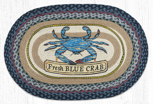 Capitol Earth Rugs Fresh Blue Crab Oval Patch Rug