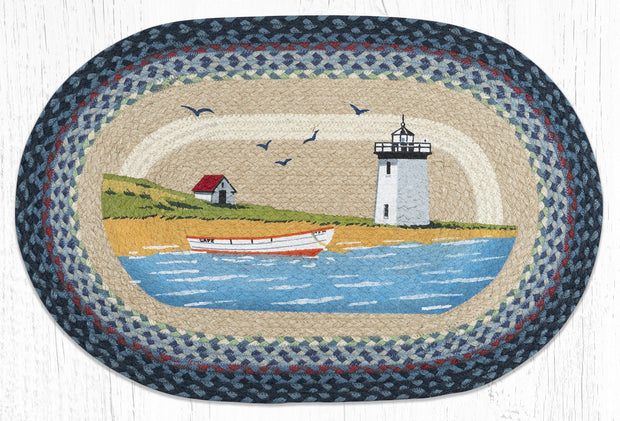 Capitol Earth Rugs Light & Boat Oval Patch Rug