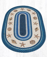 Capitol Earth Rugs Shells Printed Oval Patch Rug, 3' x 5' Oval