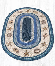 Capitol Earth Rugs Shells Printed Oval Patch Rug, 4' x 6' Oval