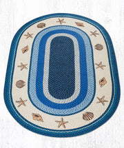 Capitol Earth Rugs Shells Printed Oval Patch Rug, 5'x 8' Oval