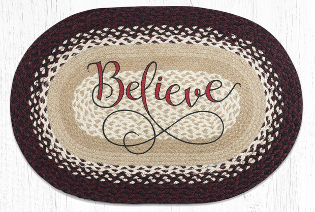 Capitol Earth Rugs Believe Oval Patch Rug