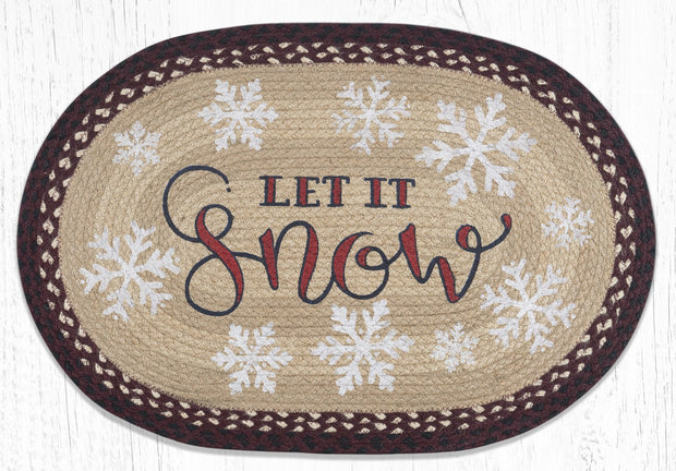 Capitol Earth Rugs Let It Snow Oval Patch Rug