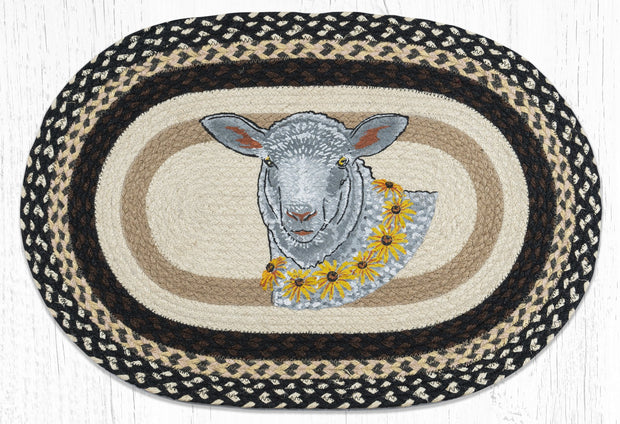 Capitol Earth Rugs Flower Lamb Oval Patch Rug