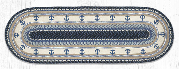 Navy Anchor Oval Patch Rug