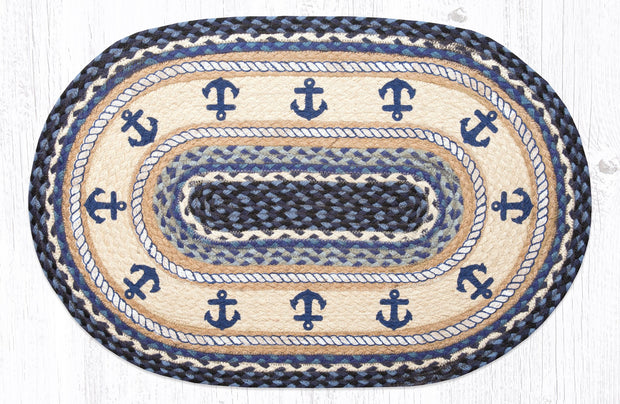 "Capitol Earth Rugs Anchor Printed Jute Oval Patch Rug, 20"" x 30"" Oval"