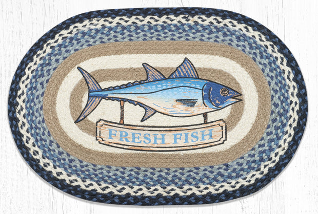 Capitol Earth Rugs Fresh Fish Oval Patch Rug