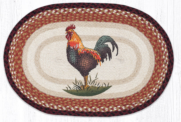"Capitol Earth Rugs Rustic Rooster Jute Oval Patch Rug, 20"" x 30"""