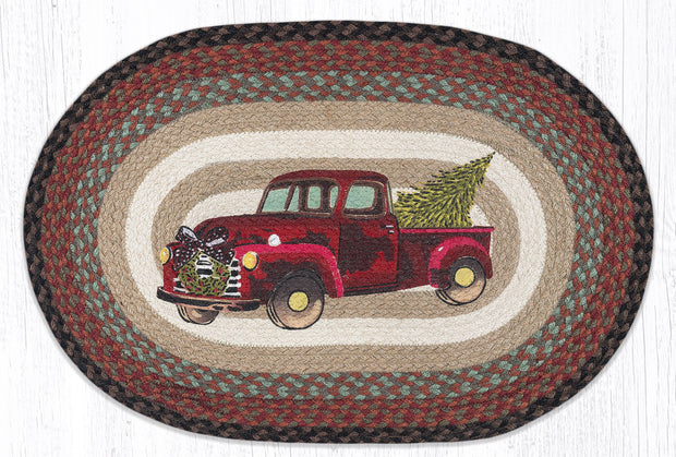 "Capitol Earth Rugs Christmas Truck Jute Oval Patch Rug, 20"" x 30"""