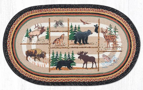 "Capitol Earth Rugs Lodge Animals Print Jute Rug, 27"" x 45"" Oval"