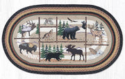 Capitol Earth Rugs Lodge Animals Print Jute Rug, 3' x 5' Oval