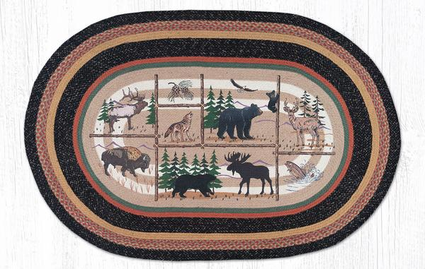 Capitol Earth Rugs Lodge Animals Print Jute Rug, 4' x 6' Oval