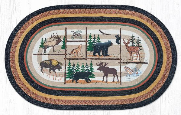 Capitol Earth Rugs Lodge Animals Print Jute Rug, 5' x 8' Oval