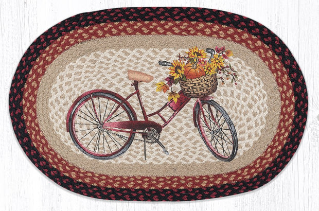 "Capitol Earth Rugs Red Bicycle Oval Patch Rug, 20"" x 30"""