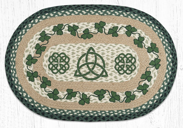 Capitol Earth Rugs Irish Shamrock Oval Patch Rug