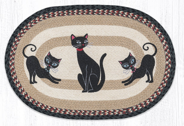 "Capitol Earth Rugs Crazy Cats Craft-Spun Oval Patch Rug, 20"" x 30"""
