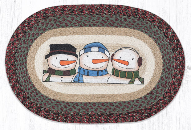 "Capitol Earth Rugs Three Snowmen Craft-Spun Oval Patch Rug, 20"" x 30"""