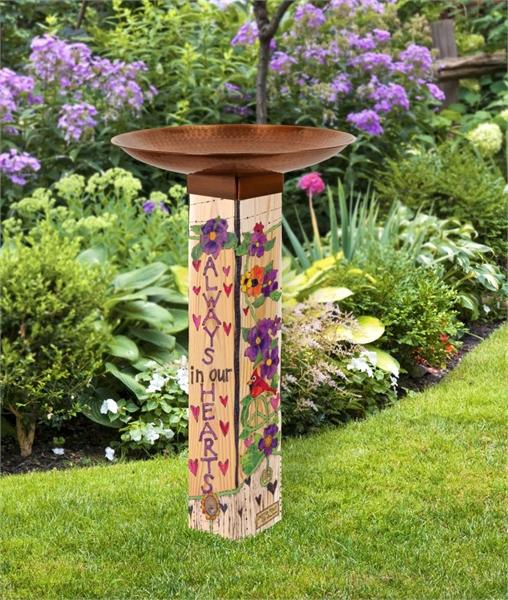 Studio-M Our Hearts Remember Bird Bath Art Pole