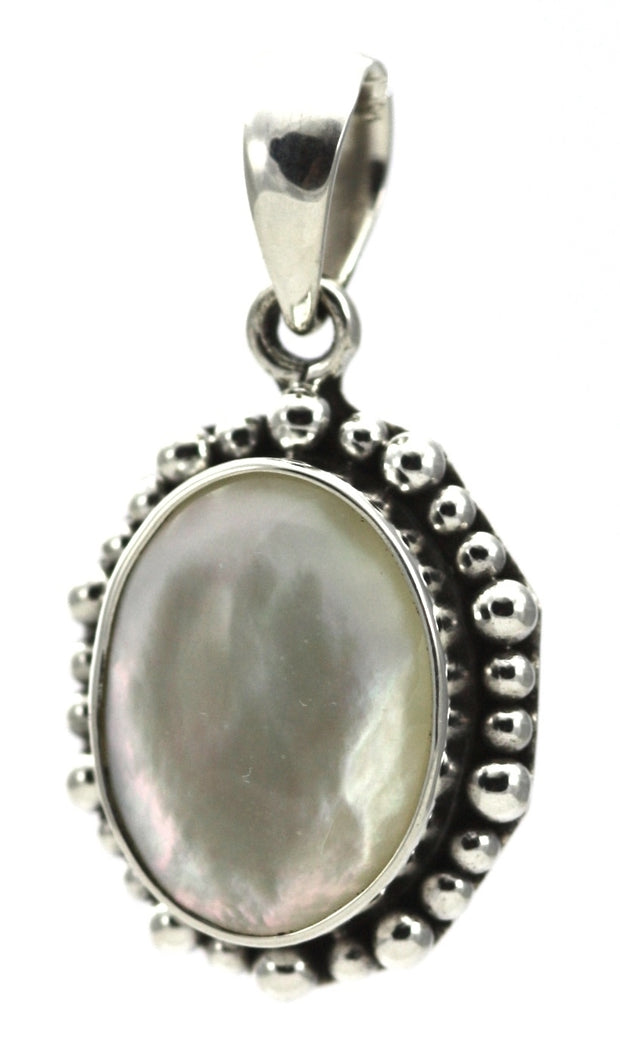 Indiri Collection PADMA Mother of Pearl Beaded Pendant, 13 x 18 mm