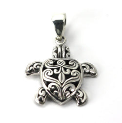 Indiri Collection Hand-Carved Filigree Turtle Pendant