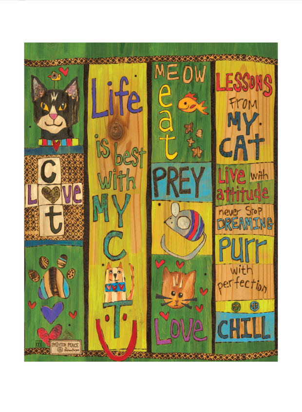 "Lessons From My Cat 20"" Art Pole"