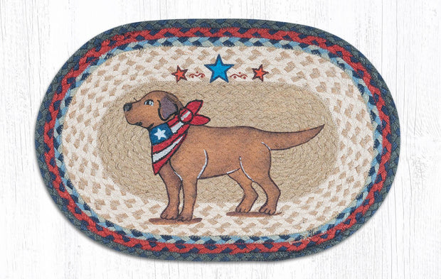 "Capitol Earth Rugs Yellow Lab Printed Jute Placemat, 13"" x 19"""