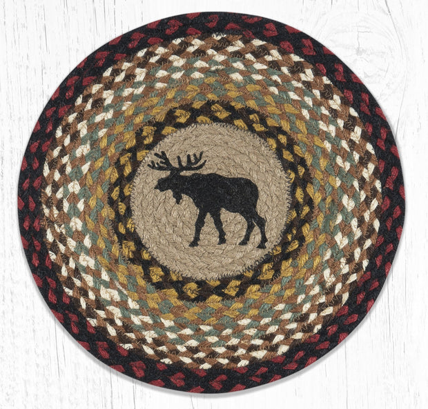 "Capitol Earth Rugs Black Moose Printed Jute Placemat, 15"" Round"