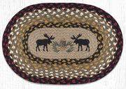 "Capitol Earth Rugs Black Moose Printed Jute Placemat, 13"" x 19"" Oval"